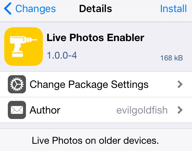 Live Photos Enable Cydia App